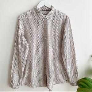 Saint James Print Button Down Shirt Blouse Silk 12